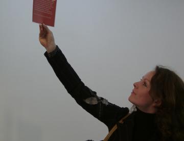 8 Besucherin liest eine der Informationstafeln