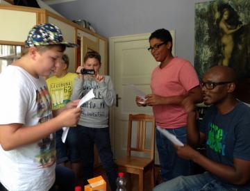 Aufnahme des Pritzwalk-Songs im Tonstudio in Berlin